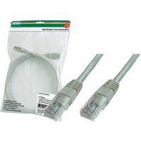 Patch kabel CAT 6 U/UTP RJ 45, vidlice ⇔ vidlice, 1 m, šedý