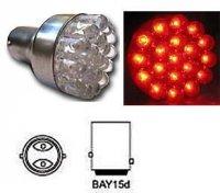 Žárovka LED BaY15D 12V červená brzd/obrys