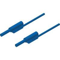 Měřicí kabel banánek 2 mm ⇔ banánek 2 mm SKS Hirschmann MVL S 25/1 Au, 0,25 m, modrá