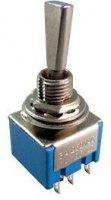 Přepínač páčkový ON-ON 2pol.250V/3A mini-otvor 6mm