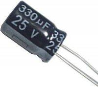 330u/25V 105° 7x12x3,5mm, elektrolyt.kondenzátor radiální