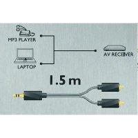 Audio kabel Sound & Image, jack zástr. 3.5 mm/cinch zástr., šedý/černý, 1,5 m