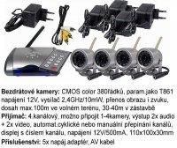 4xbezdrátová color kamera+přijímač auto/manu+D.O. použité,vadné