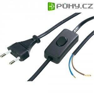 Síťový kabel s přepínačem, zástrčka/otevřený konec, 0,75 mm², 1,5 m, černá