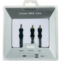 Připojovací kabel Sound & Image, jack zástr. 3.5 mm/cinch-zástr., šedý/černý, 5 m