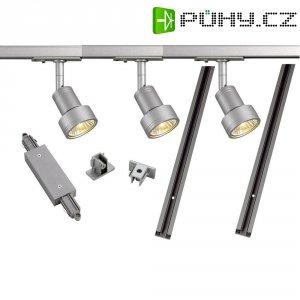 Lištový systém svítidel SLV, 1fázový, halogen, 3x 50 W, GU10, stříbrná/šedá