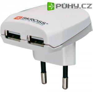 Cestovní adaptér s USB Skross, 1.302402, bílá