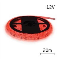 LED pásek 12V 3528 60LED/m IP20 max. 4.8W/m červená (cívka 20m)
