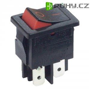 Kolébkový spínač Arcolectric H8550XBAAA, 2x vyp/zap, 250 V/AC, 10 A, červená/černá