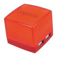 USB 2.0 hub LogiLink, 4-portový, osvětlený, červený
