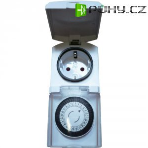 Mini spínací zásuvka s časovačem GAO, 3680 W, IP44, analogová, denní