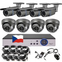 8CH 1080p AHD DVR kamerový set CCTV - DVR s LAN a 4+4 dome+bullet AHD IR kamer, 2,8-12mm, vč. příslušenství, s kabeláží, 1920x1080px/CH, CZ menu,P2P, HDMI, 2MPx