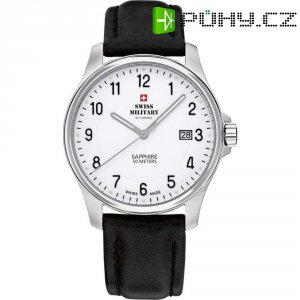 Ručičkové náramkové hodinky Swiss Military, 20076ST-4L, pánské, kožený pásek, černá/stříbrná