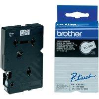 Páska do štítkovače Brother TC-291, 9 mm, TC, 7,7 m, černá/bílá