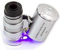 Mikroskop kapesní s osvětlením,zvětšení 60x,napájení 3xAG10