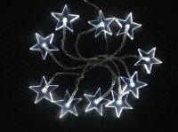LED vánoční řetěz, hvězdy, 1m, 10x LED, 2x AA, bílé světlo