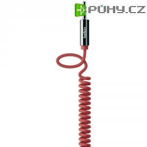Spirálový přip.kabel Belkin jack zástr. 3.5 mm/jack zástr. 3.5 mm, červený, 1,8 m
