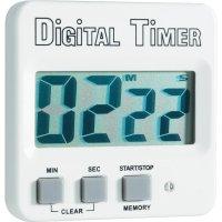 Digitální časovač Basetech s velkým displejem, bílá