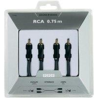 Připojovací kabel Sound & Image, cinch zástr./cinch zástr., šedý/černý, 0,75 m