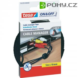 Multifunkční stahovací páska na suchý zip Tesa On&Off, 10 mm x 5 m, černá