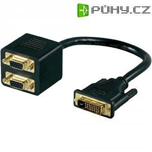 DVI / VGA Y adaptér Goobay 15 cm 68737, [1x DVI zástrčka 12+5pólová - 2x VGA zásuvka], černá
