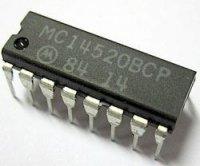 4520 - 2x 4bit.binární čítač, DIL16, /MC14520/