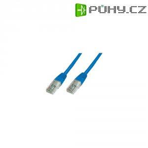 Patch kabel CAT 5e SF/UTP RJ 45, vidlice ⇔ vidlice, 0,25 m, modrý
