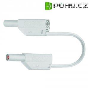 Měřicí kabel banánek 4 mm ⇔ banánek 4 mm MultiContact SLK425-E, 0,75 m, bílá