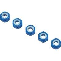 Hliníková samojistící matice M4, 10 ks, modrá