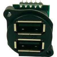USB konektor dvojitý Cliff CP30090, zásuvka vestavná vertikální, černý
