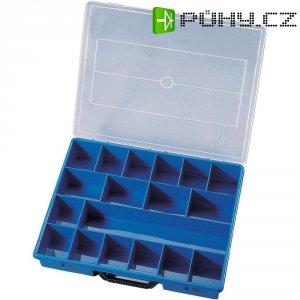 Kufříkový zásobník na součástky VISO, 18 přihrádek, 365 x 291 x 64 mm
