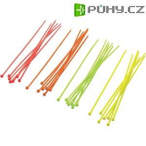 Sada neonových stahovacích pásek ST150M, 150 x 2,5 mm, oranžová/žlutá/růžová/zelená, 80 ks