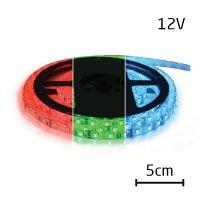 LED pásek 12V 5050 60LED/m IP44 max. 14.4W/m RGB (1ks=5cm) zalitý