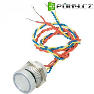 Piezo tlačítko APEM, 24 V DC/AC, 0,2 A, IP 69K, PBAR9BF0000N2C, červená/modrá
