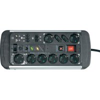 Zásuvková lišta Master/Slave se spínačem GAPBM08, 10 síťových zásuvek, DVB-C, Koax, RJ45, RJ