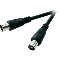 Anténní kabel Speaka, zástrčka 75 Ω ⇔ zásuvka 75 Ω, 2,5 m, černá