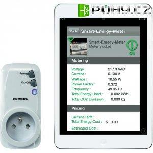 Měřič spotřeby a spínací zásuvka pro smartphone, Voltcraft SEM3600BT, pro CZ a SK zásuvky