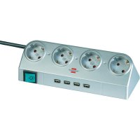 Zásuvková lišta se spínačem Brennenstuhl, 4 zásuvky, USB hub, stříbrná