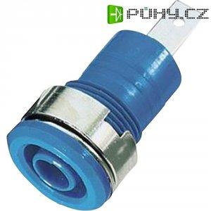 Laboratorní zásuvka MultiContact SLB 4-F/A (23.3070-21), vestavná vertikální, Ø 4 mm, modrá
