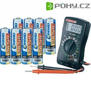 Akumulátor NiMH Conrad energy AA 2400 mAh, 8 ks + multimetr
