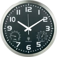 Analogové nástěnné DCF hodiny s teploměrem a vlhkoměrem, 40cm, hliník