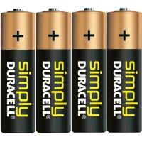Sada alkalických baterií Duracell Simply, typ AA, 4 ks