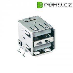USB konektor vestavný do DPS Lumberg 2410 03, 2x zásuvka, Typ A
