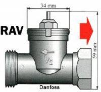 Mosazný adaptér termostatu Danfoss RAV 700 100 008 vhodný pro topné těleso Danfoss RAV, 34 mm se 4 vroubky