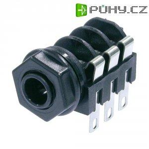 Jack konektor 6,35 mm stereo Neutrik NMJ6HC-S, zásuvka vestavná horizontální, 3pól., černá