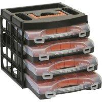 Přepravka se 4 kufříky na součástky Alutec 56100, černá