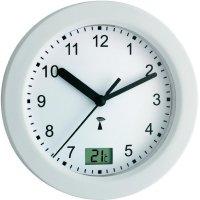 Analogové DCF nástěnné hodiny do koupelny TFA 60.3501, Ø 17,5 x 5,5 cm, bílá