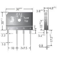 Můstkový usměrňovač Diotec GBI25D, U(RRM) 200 V, 25 A