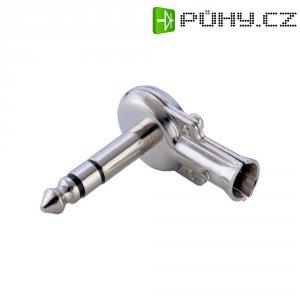 Konektor jack 6,35 mm, zástrčka úhlová, 3pól./stereo, stříbrná