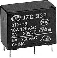 Relé JZC-33F1C 12V, kontakty 250VAC/5A(30VDC/10A)
